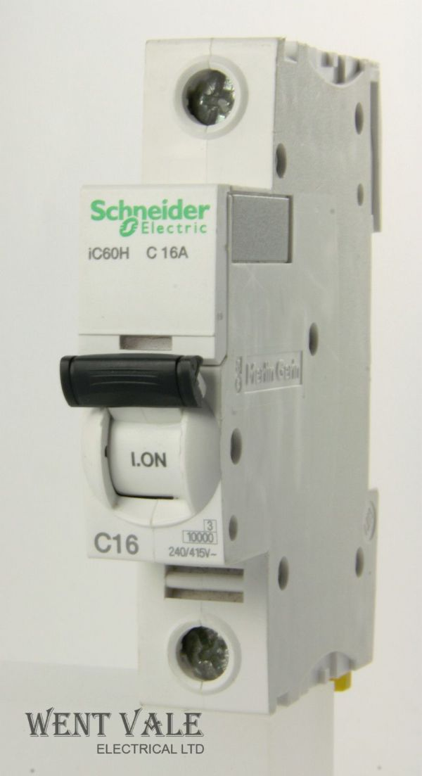 Schneider Acti 9 - A9F54116 - 16a Type C Single Pole MCB Latest Model Used
